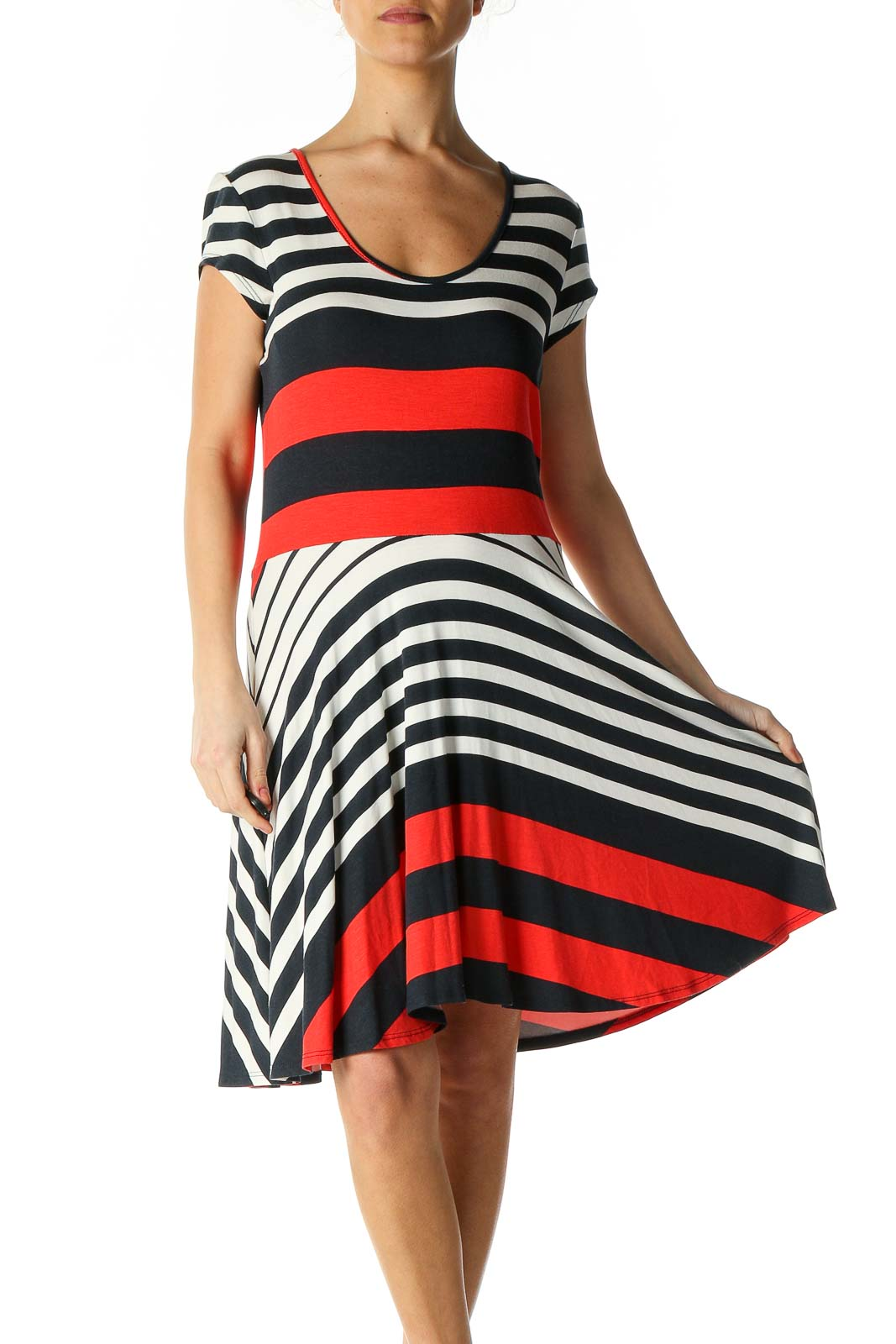 Red Striped Casual A-Line Dress Front