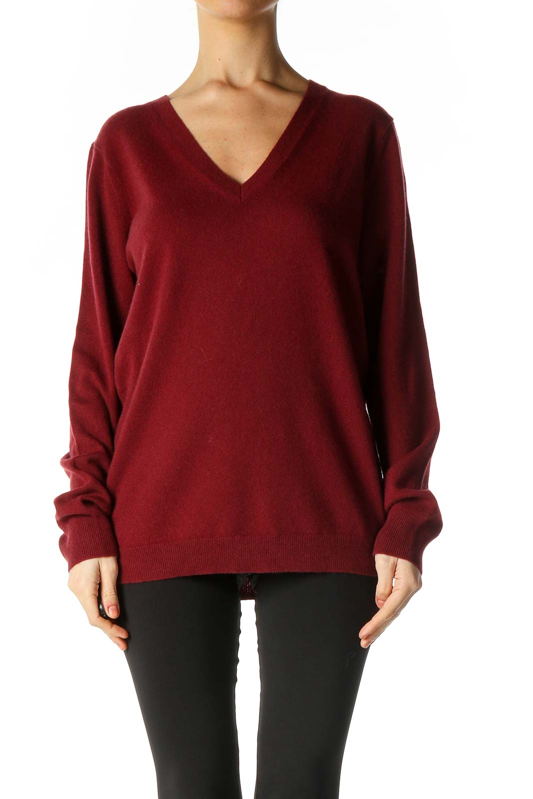 Red Solid Sweater Front