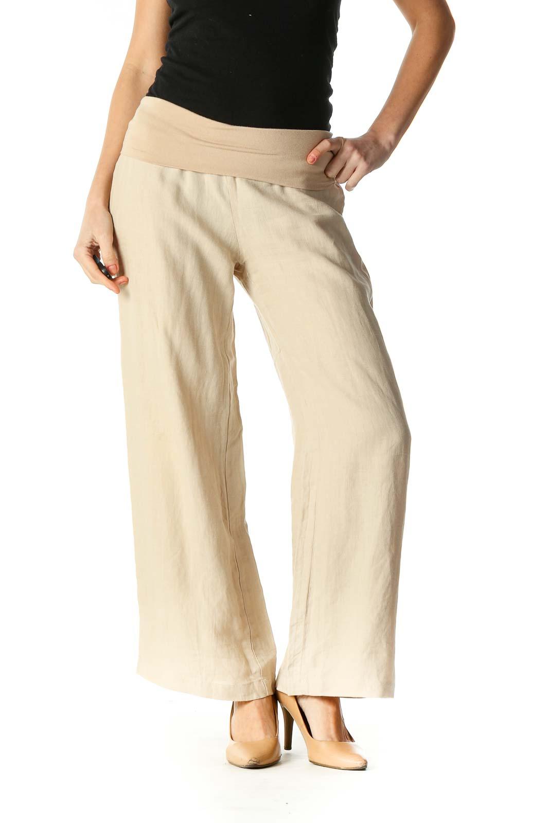 Beige Texture Casual Pants Front