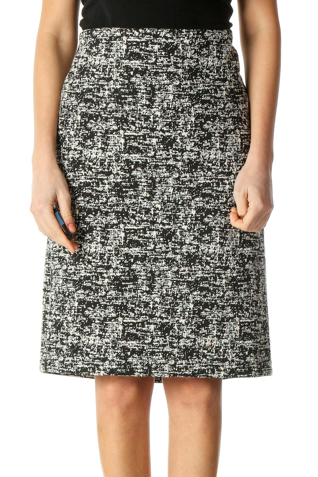 Black Classic A-Line Skirt Front