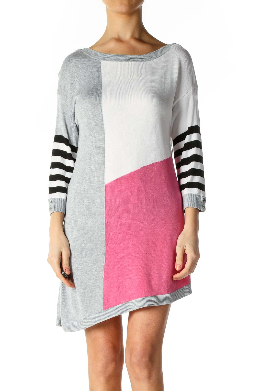 Gray Texture Shift Dress Front