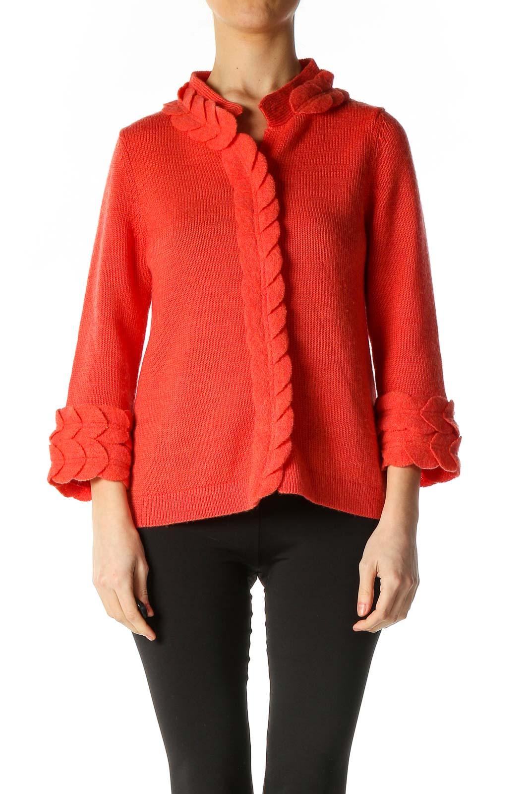 Orange Textured Classic Cardigan Front