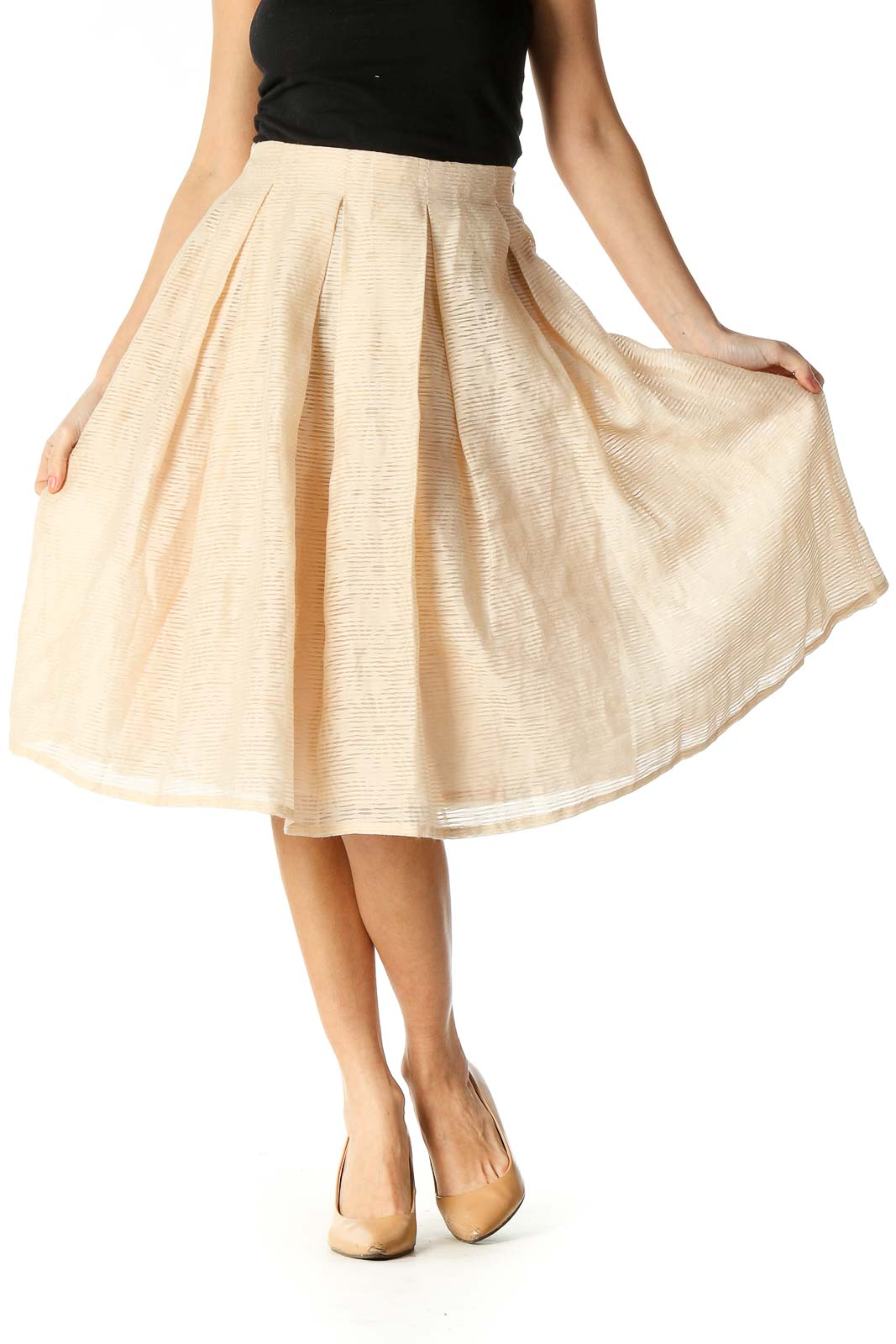 Beige Texture Chic Pleated Skirt Front
