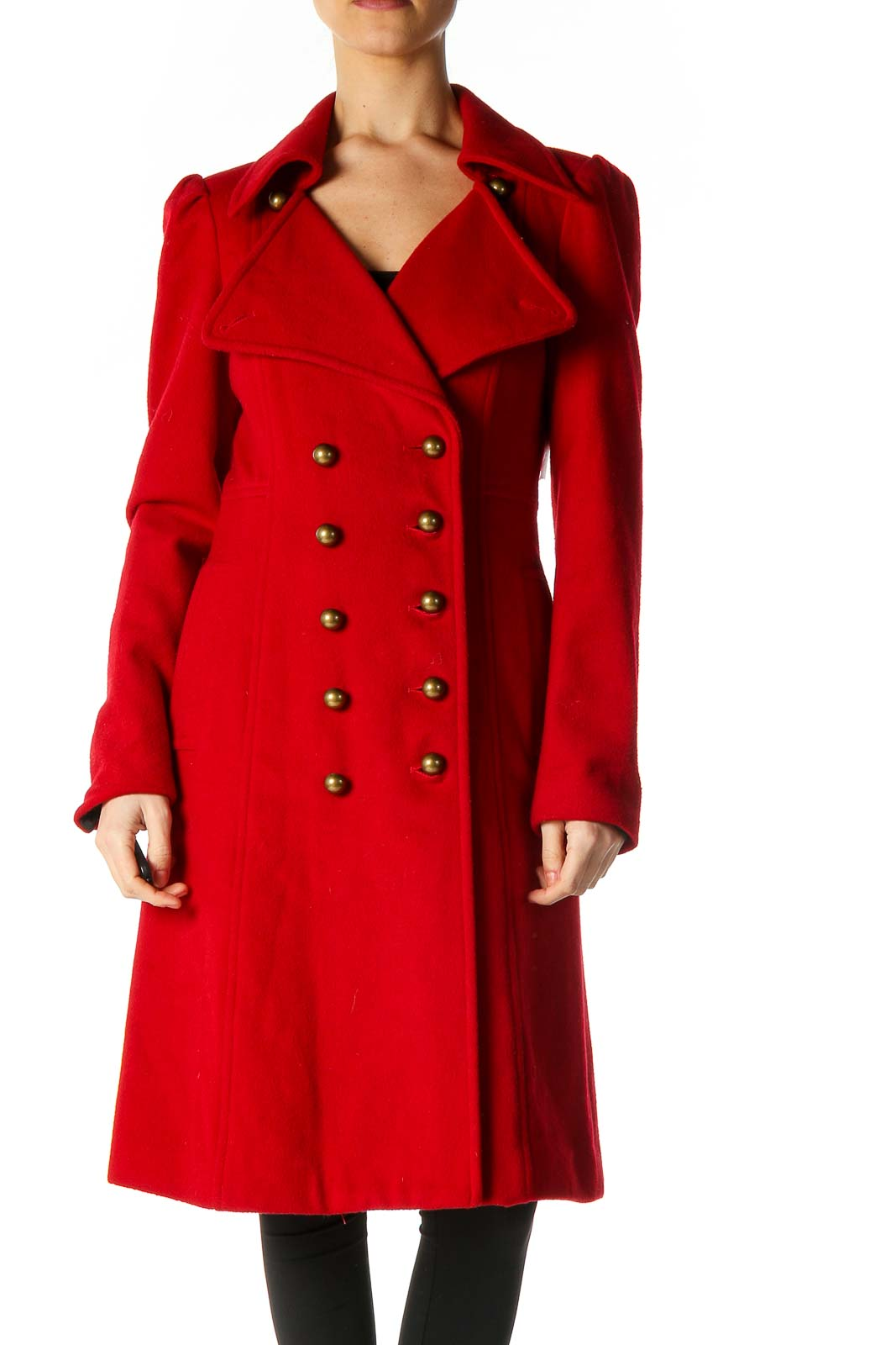 Red Peacoat Front