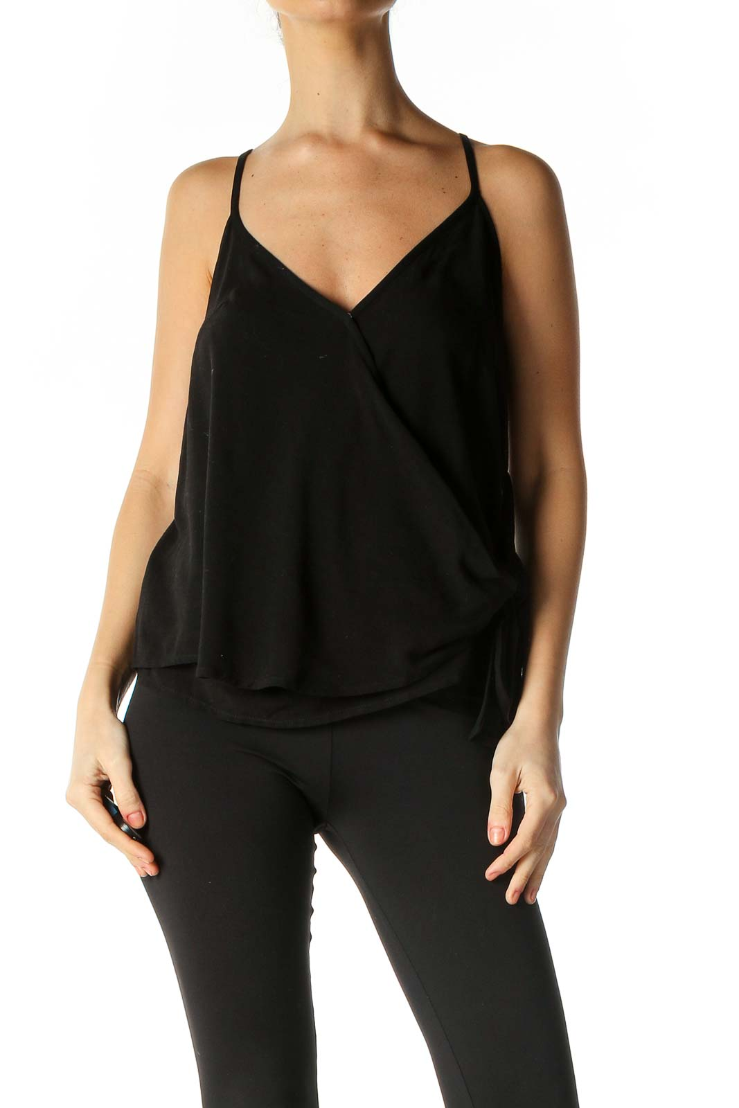 Black Solid Holiday Blouse Front