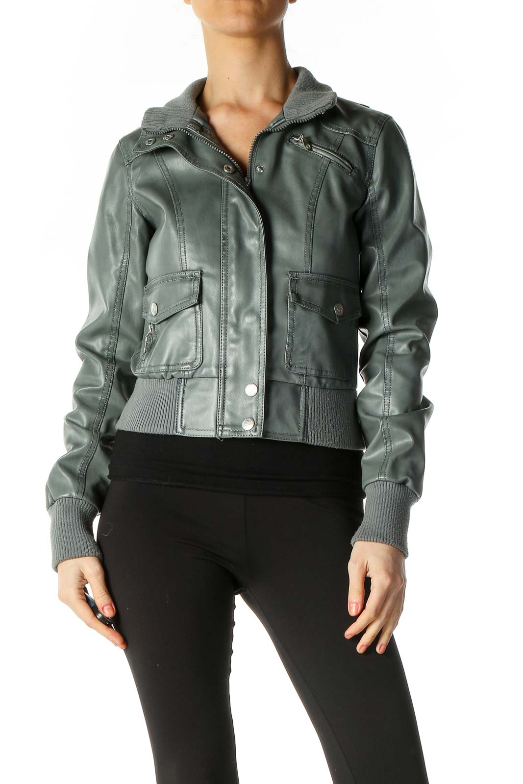 Gray Motorcycle Jacket Front
