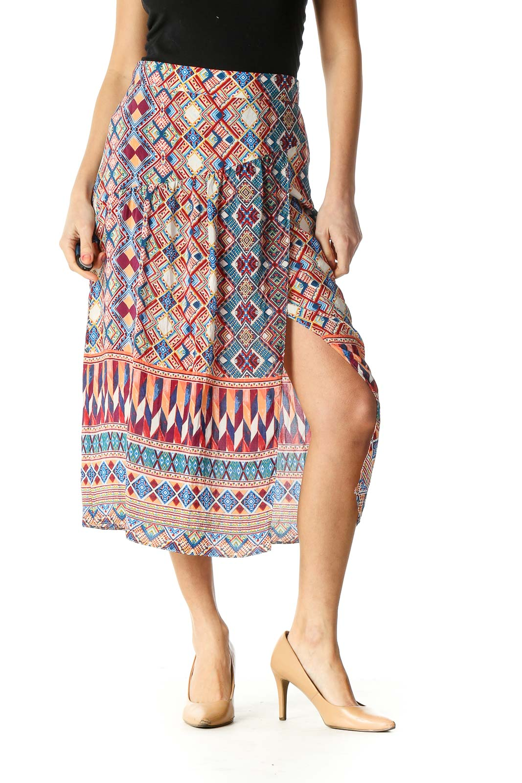 Red Graphic Print Bohemian A-Line Skirt Front