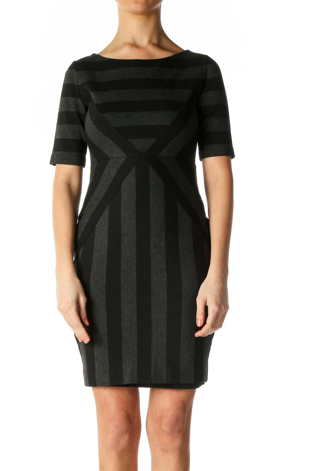 Black Solid Day A-Line Dress Front