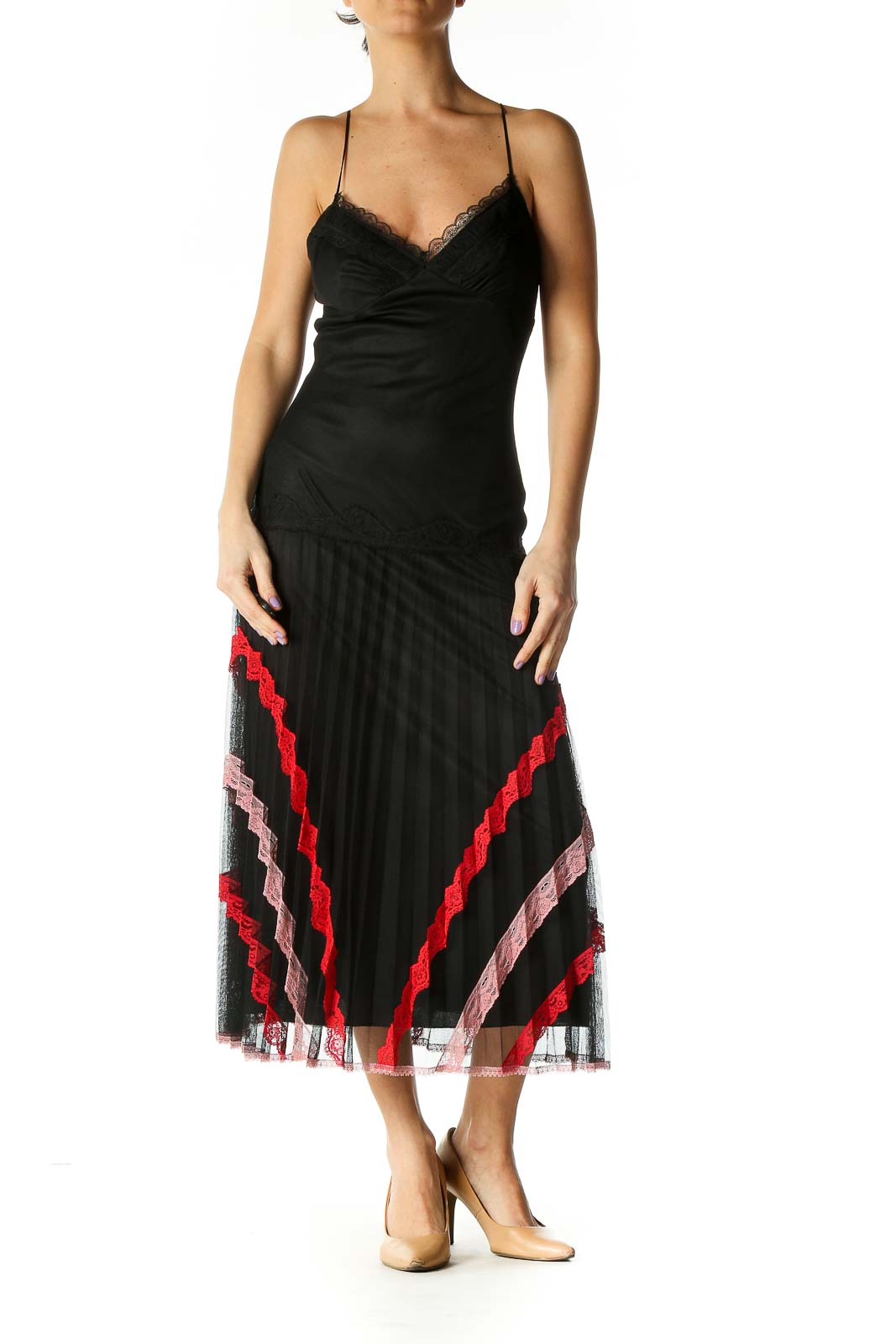 Black Solid Chic A-Line Dress Front