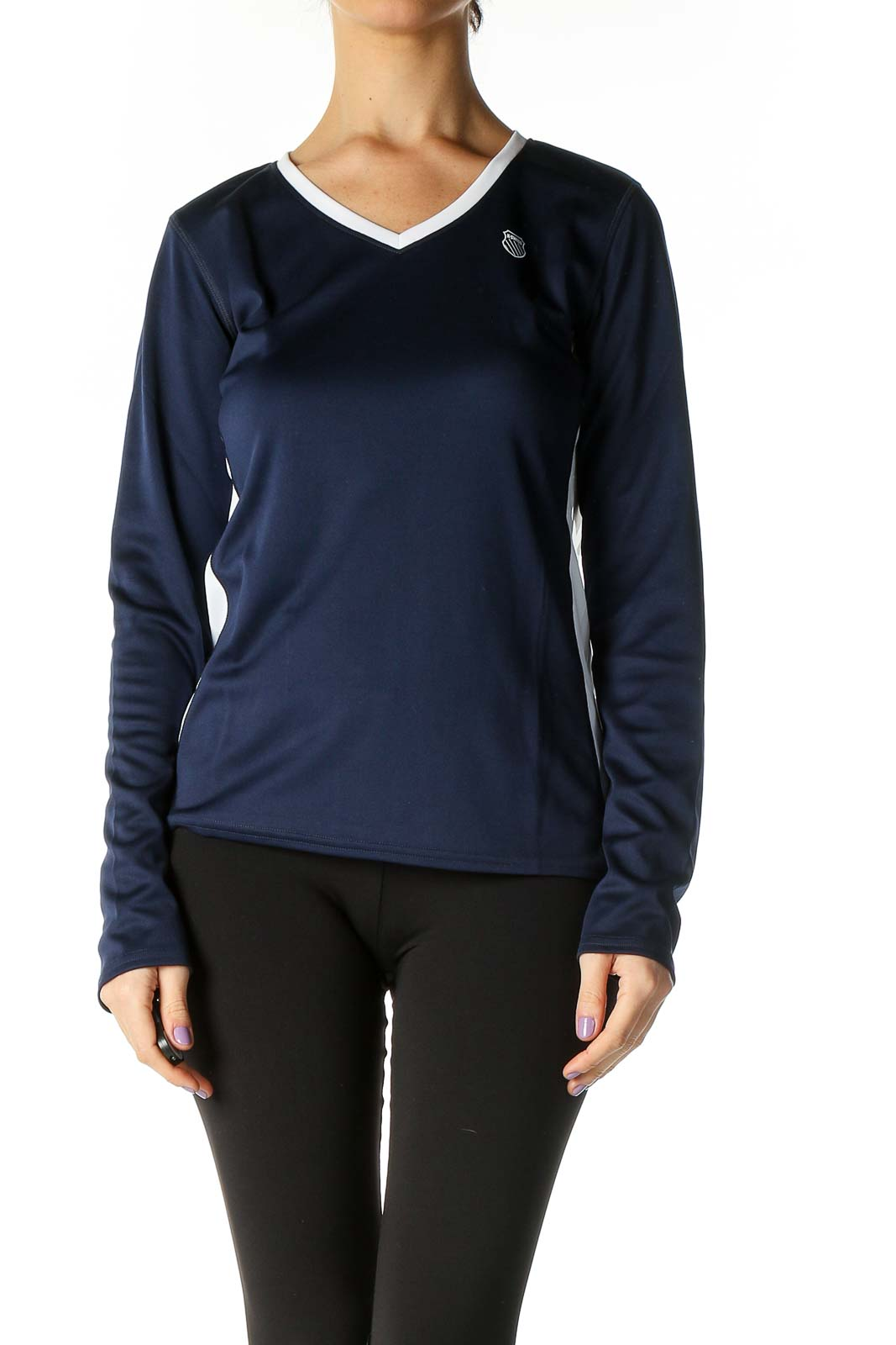 Blue Solid Sport Top Front