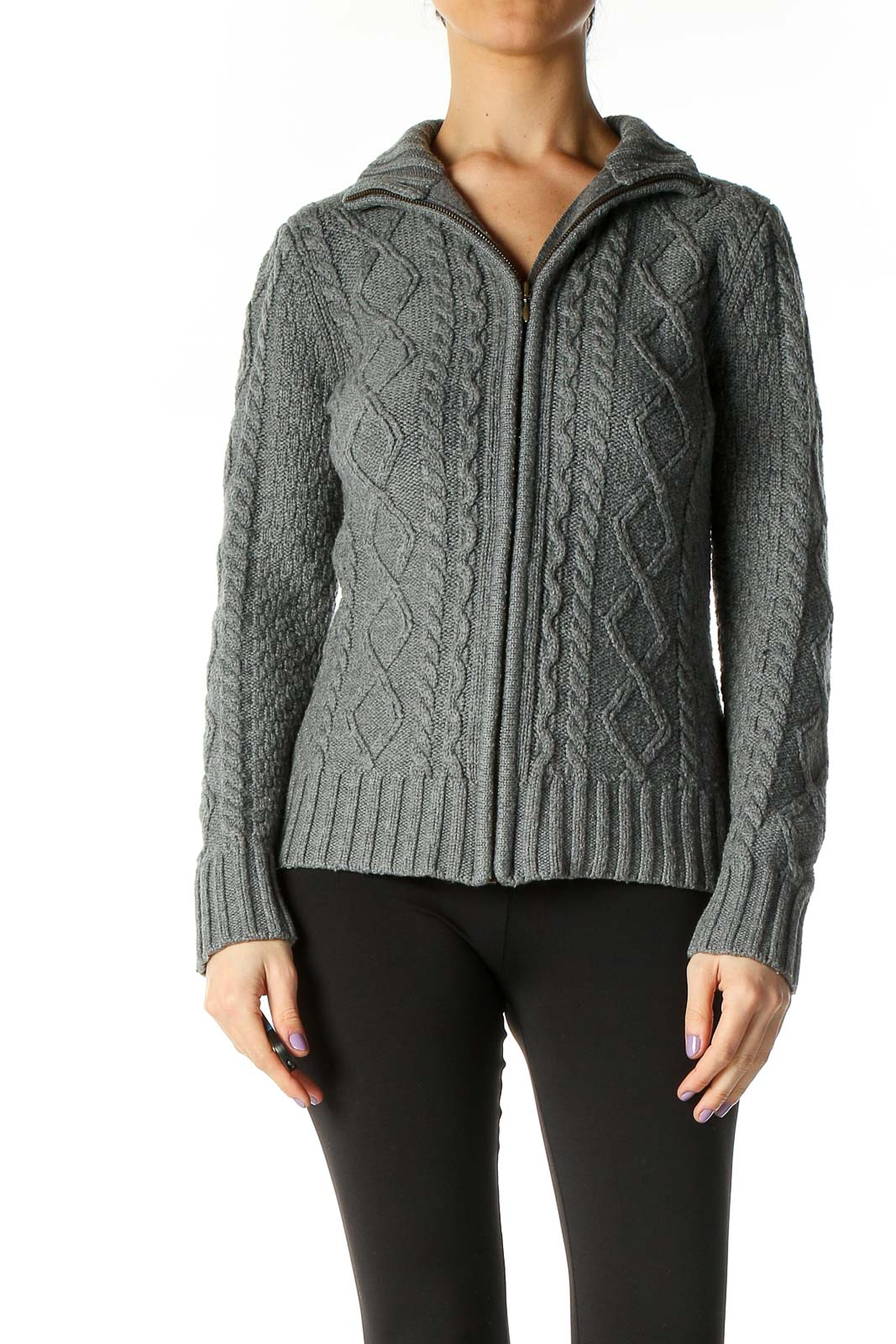 Gray Knit Jacket Front