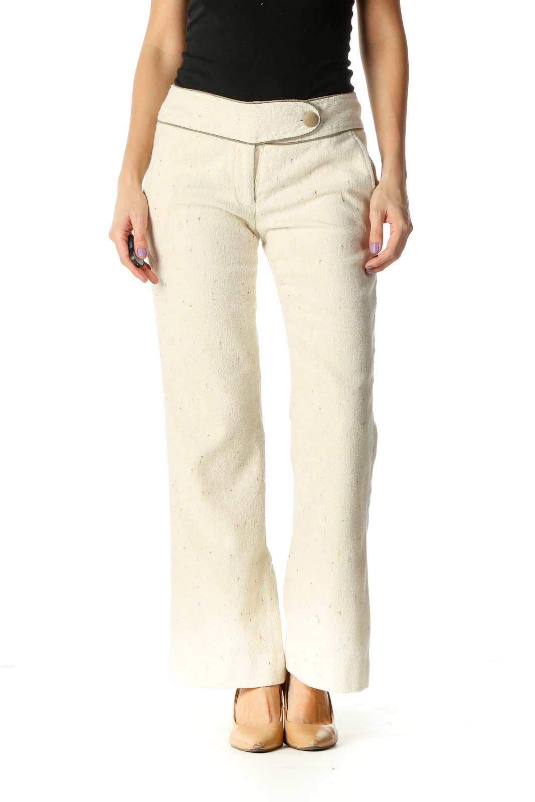 Beige Knit Casual Trousers Front