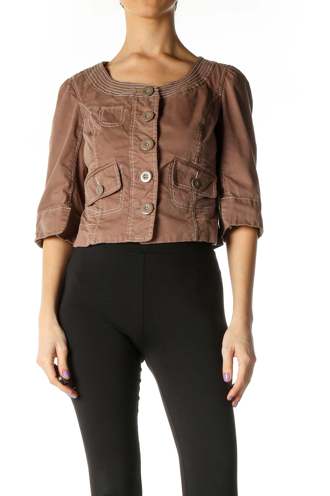 Brown Solid Casual Blazer Front