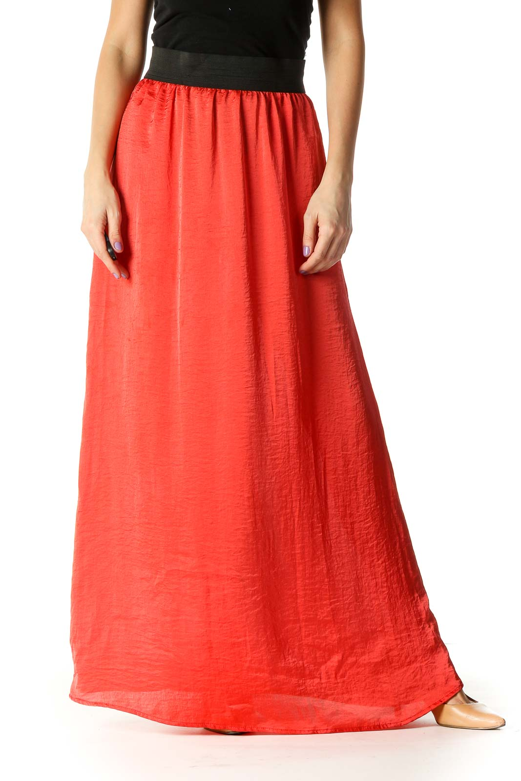 Orange Solid Casual Pleated Skirt Front