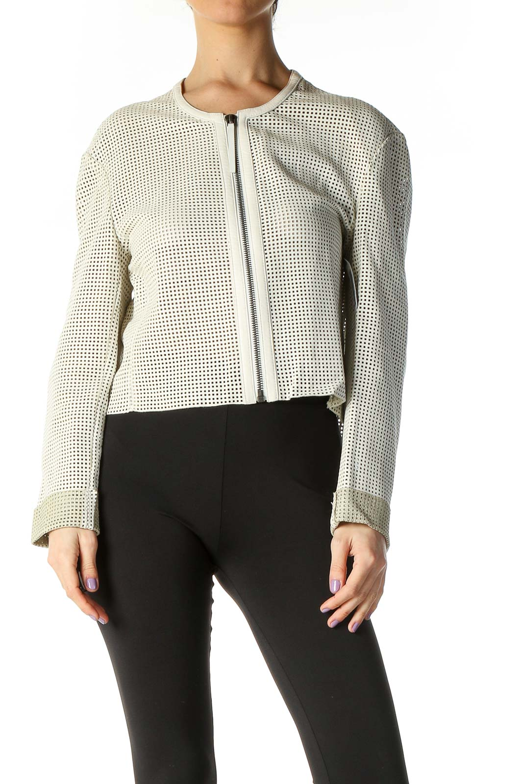 White Leather Jacket Front