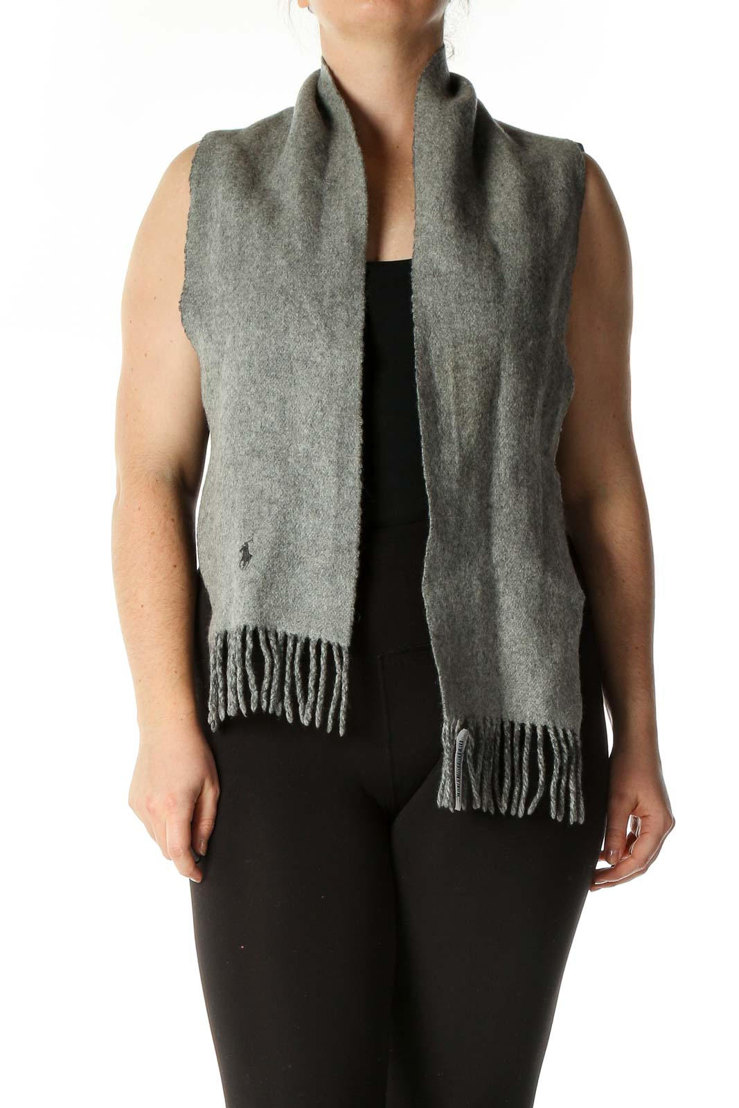 Gray Solid Scarf Front