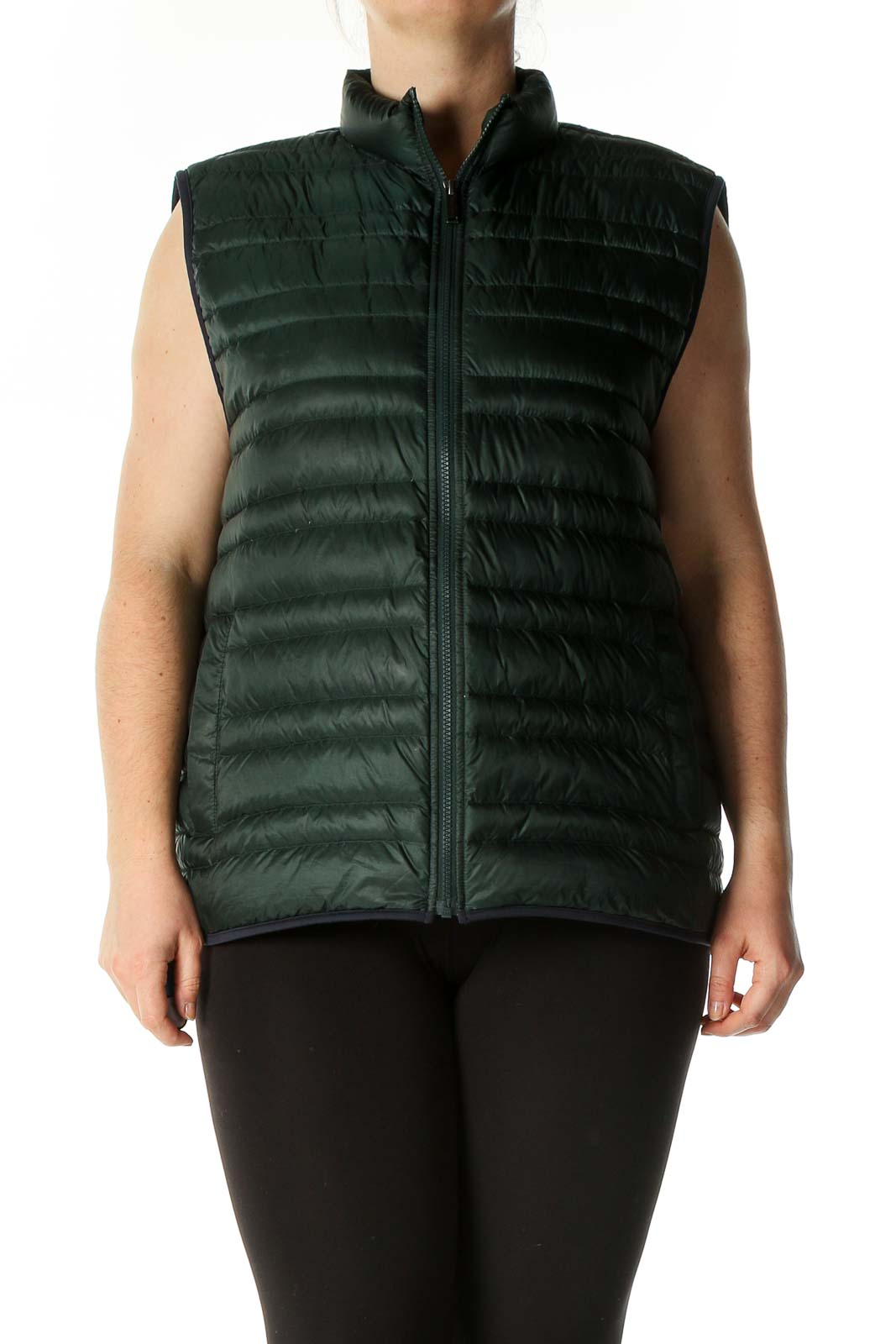 Green Puffer Vest Front