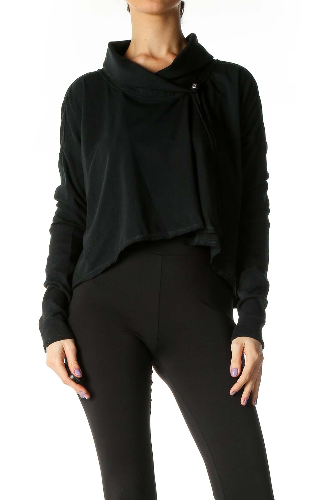 Black Solid Sweatshirt Front