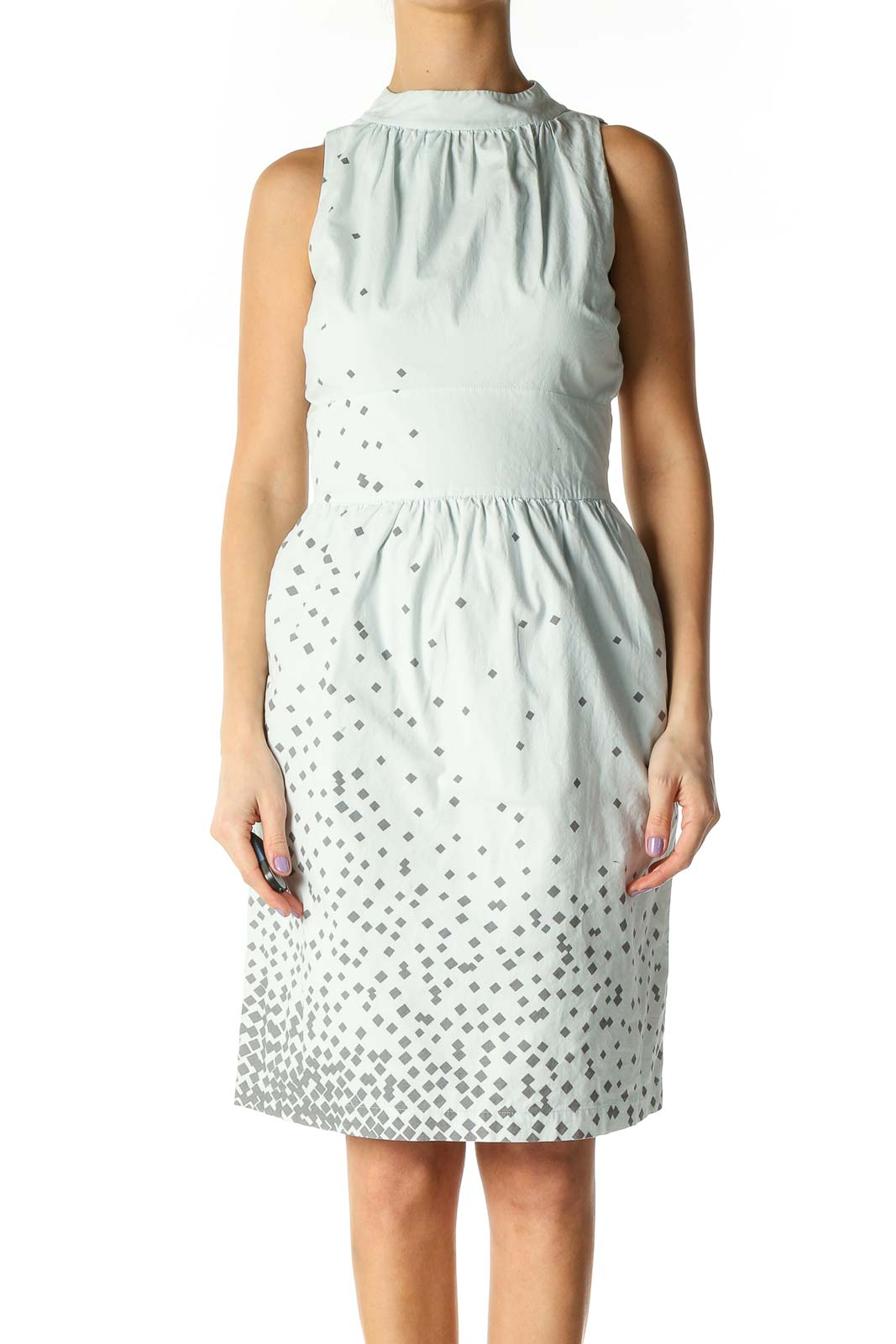 Blue Polka Dot Day A-Line Dress Front