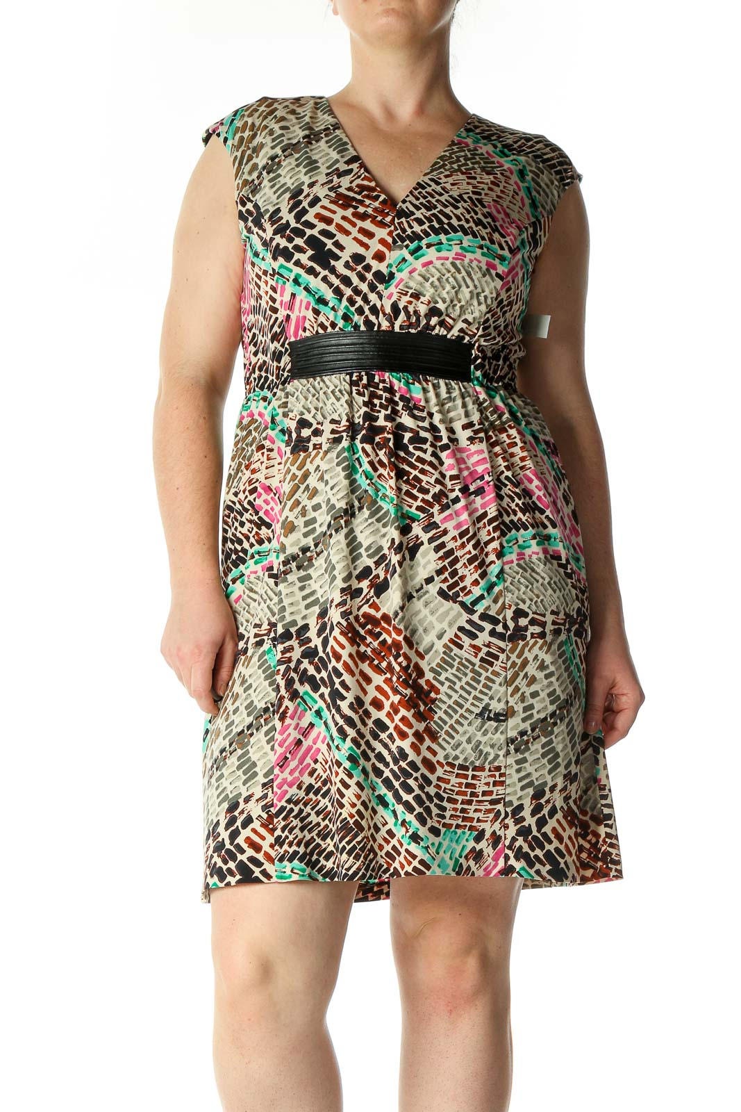 Green Animal Print A-Line Dress Front