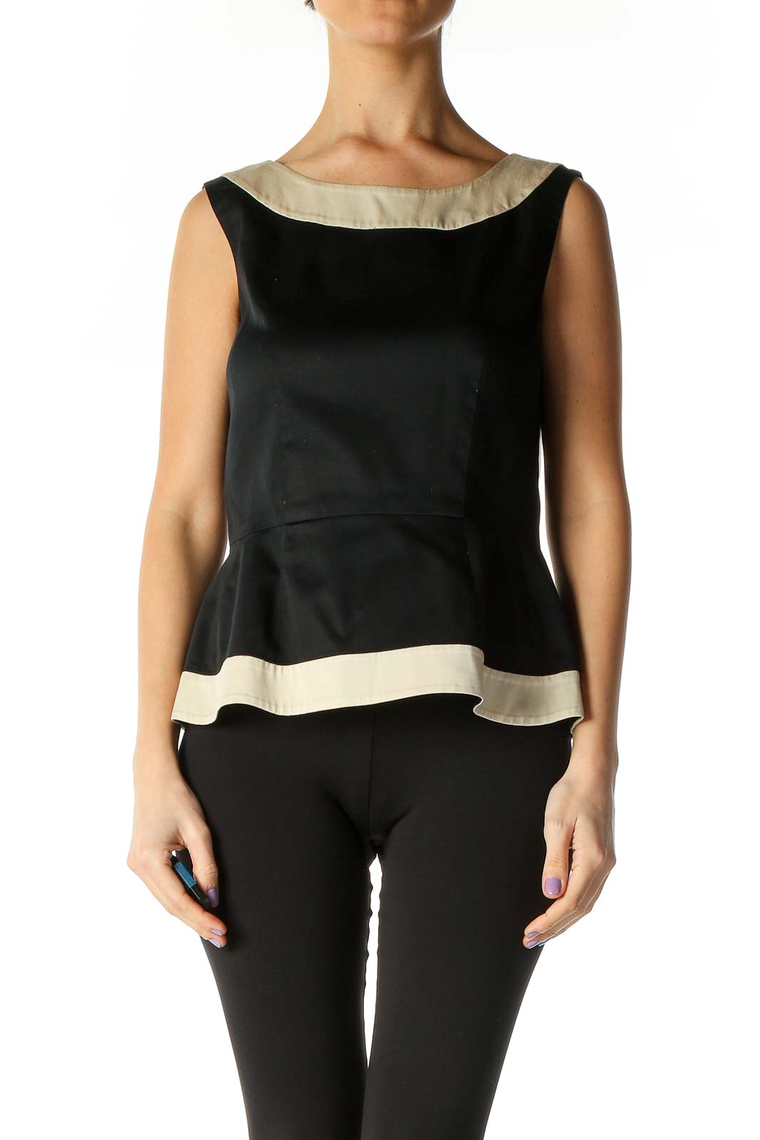 Black Solid Classic Tank Top Front