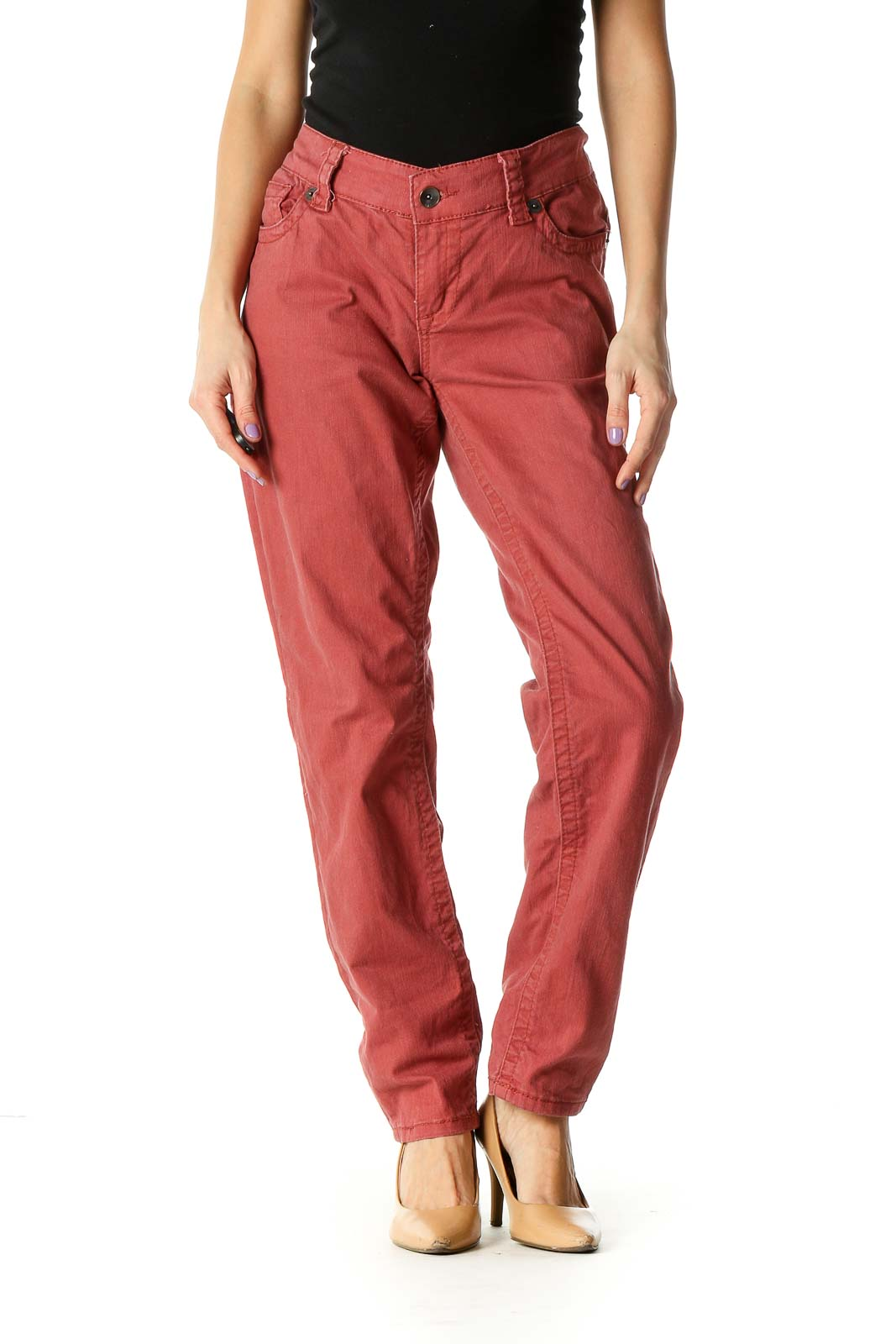 Red Casual Straight Leg Jeans Front