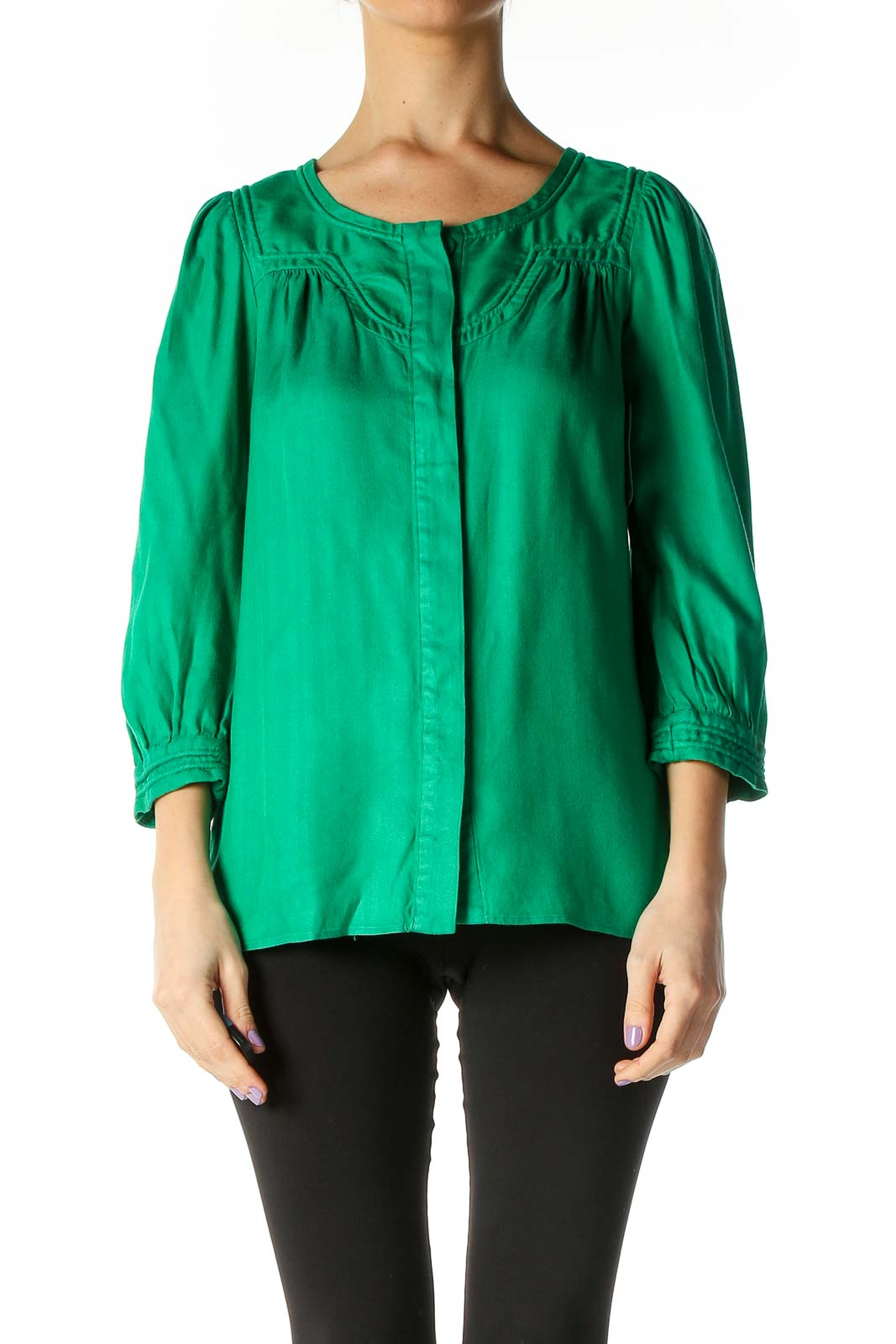 Green Solid Retro Blouse Front