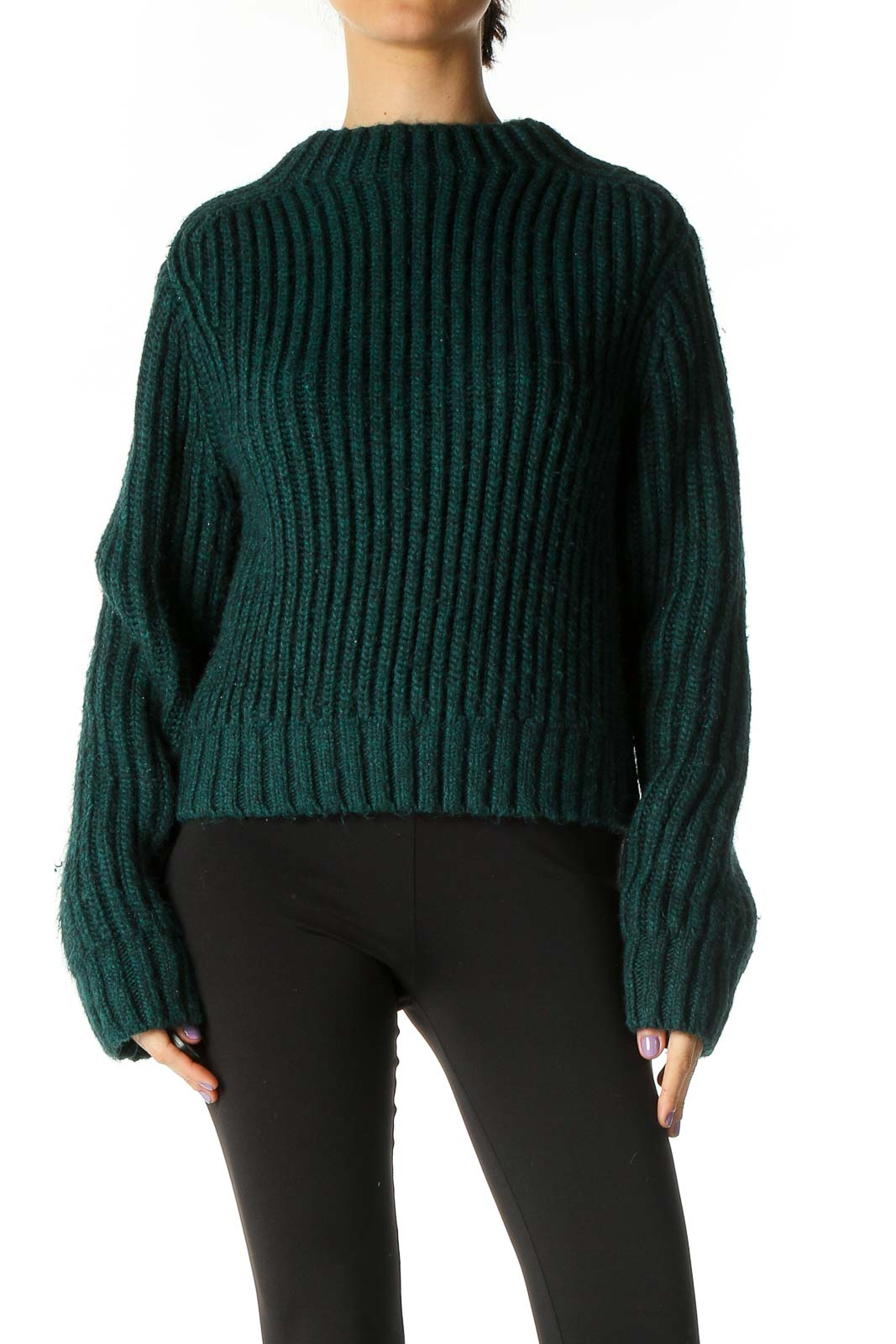 Green Solid Retro Sweater Front