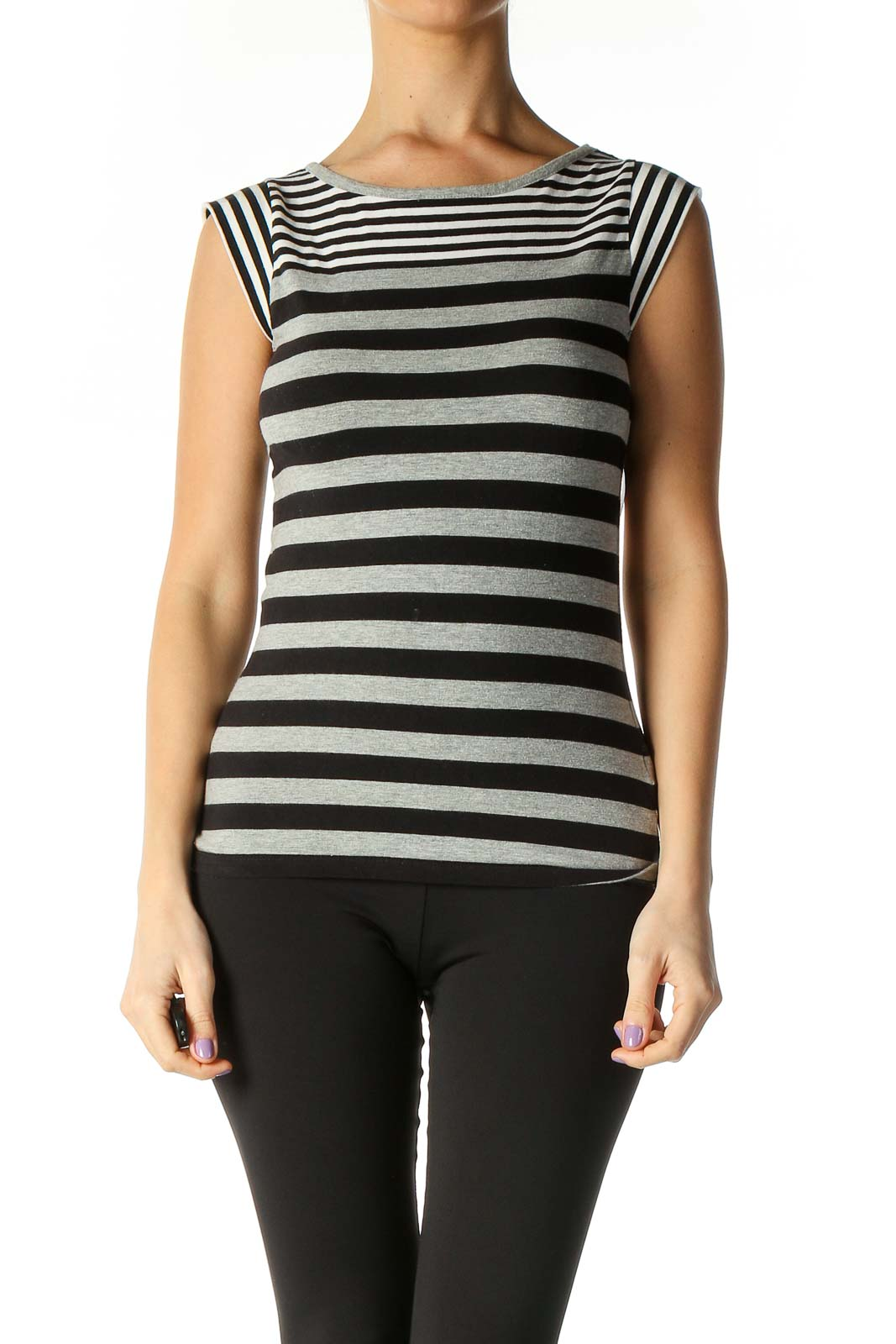 Black Striped Casual Blouse Front