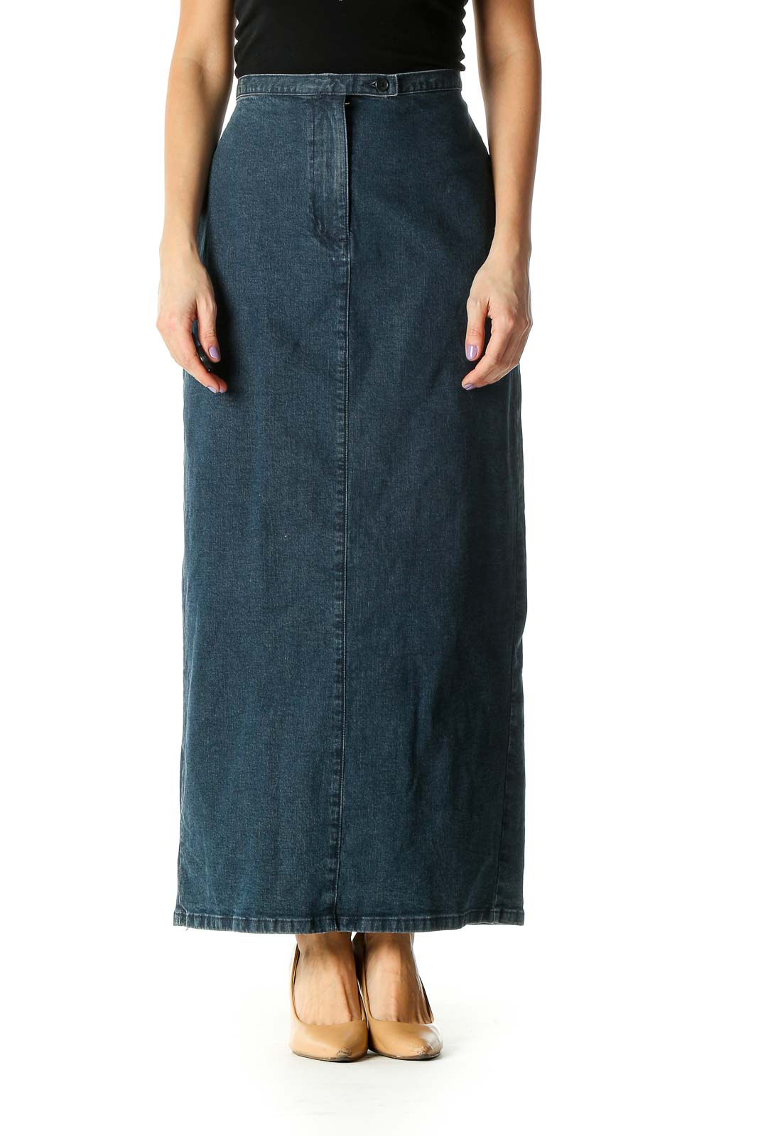 Blue Colorblock Casual Straight Skirt Front