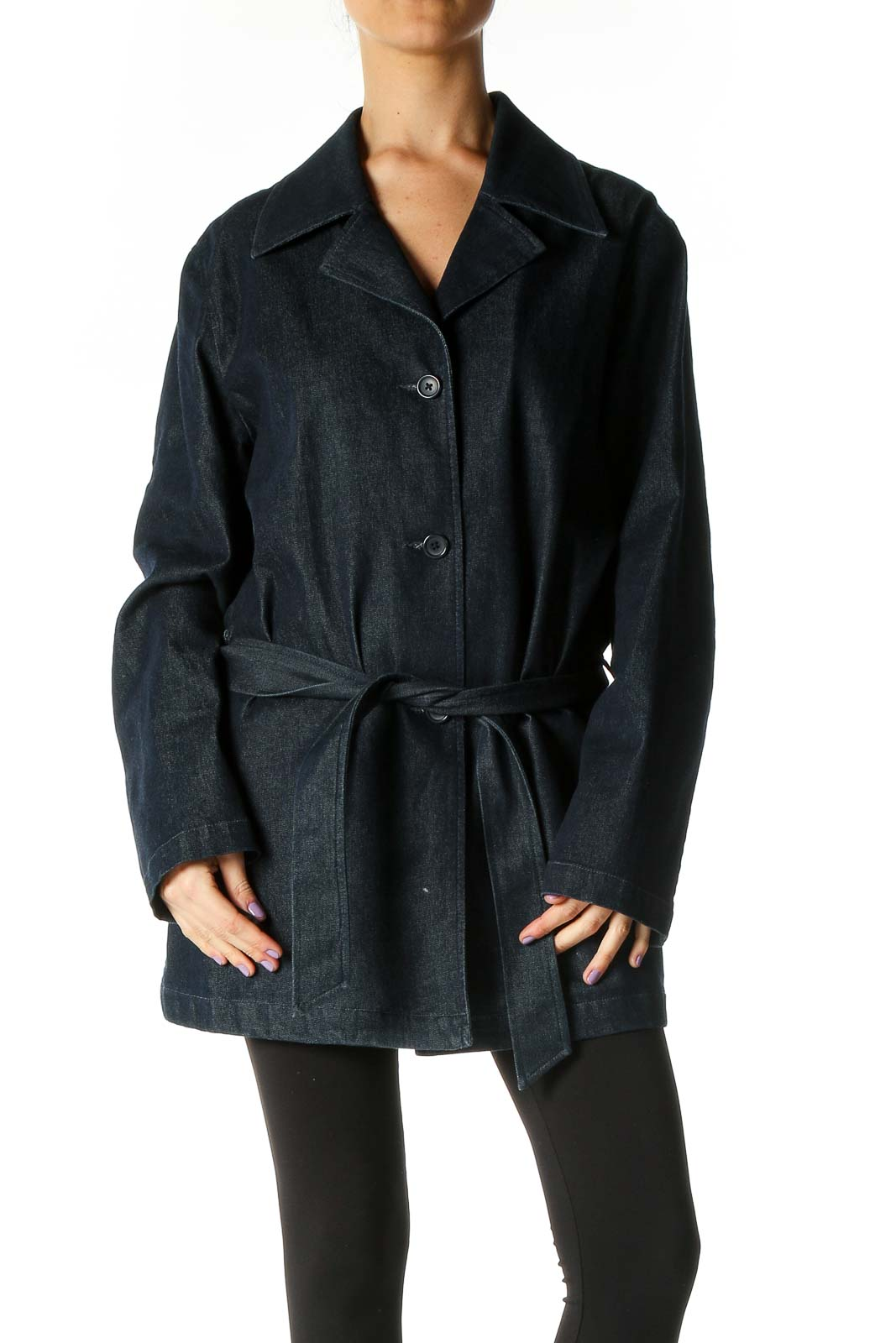 Blue Denim Coat Front