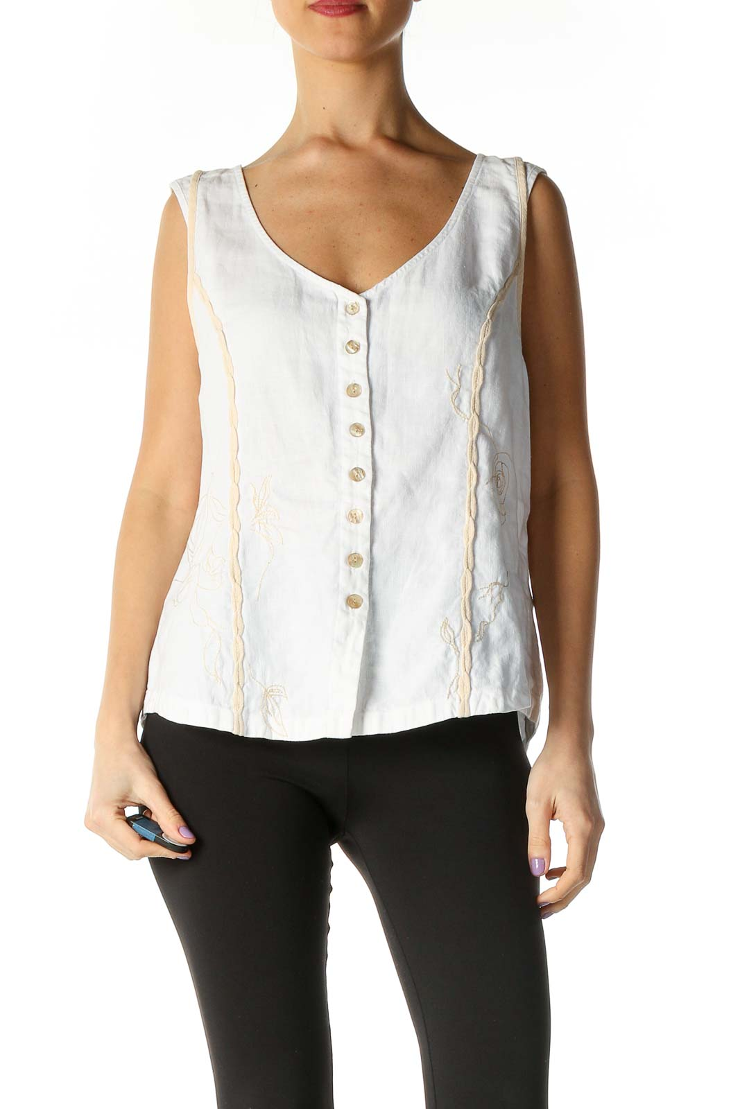 White Solid Casual Blouse Front