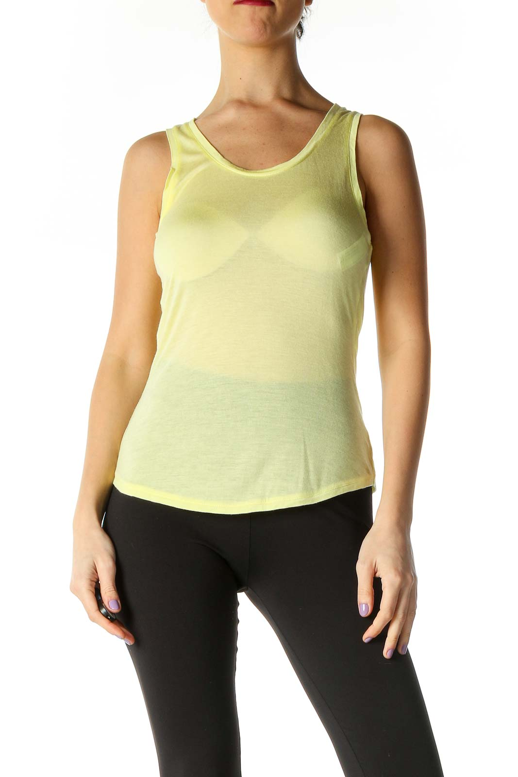 Yellow Solid Casual Tank Top Front