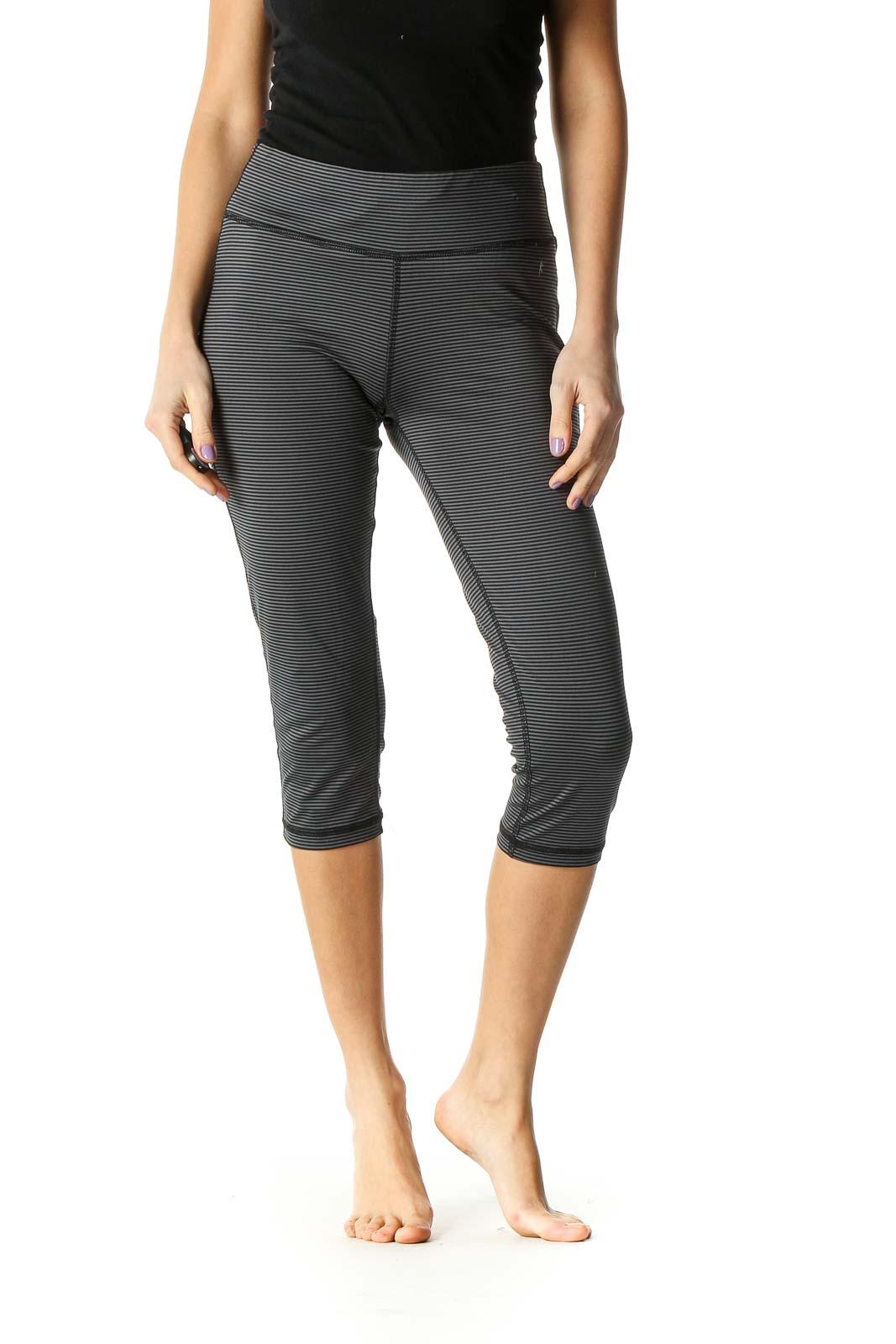 Gray Print Casual Leggings Front