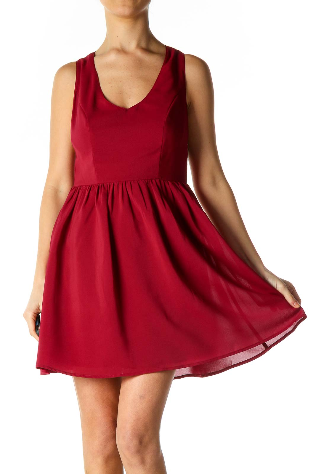 Red Solid Casual Fit Flare Dress Front