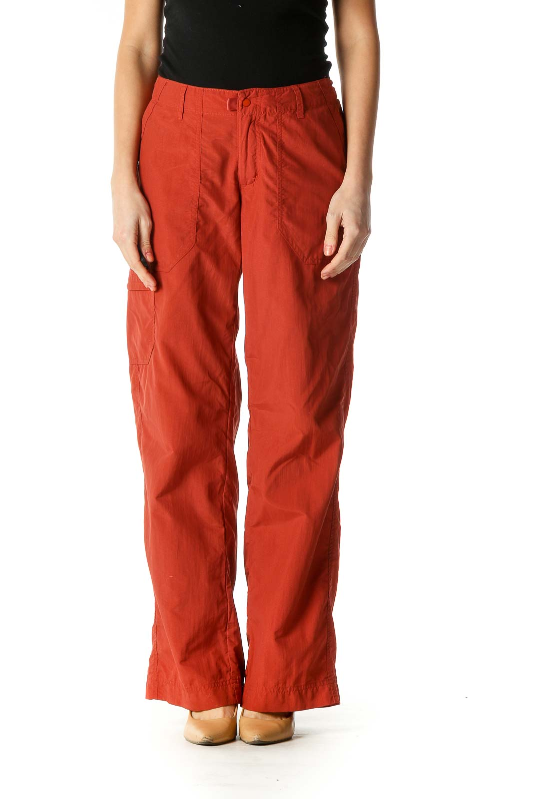 Orange Solid Casual Culottes Pants Front