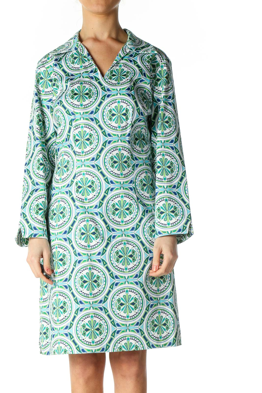White Paisley Bohemian Shift Dress Front