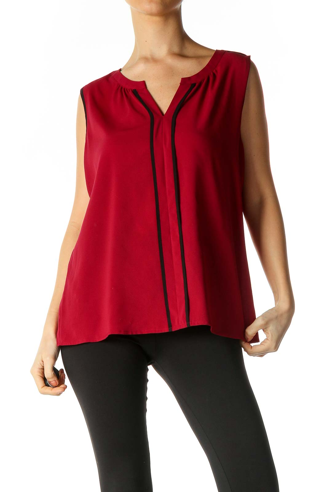 Red Solid Blouse Front
