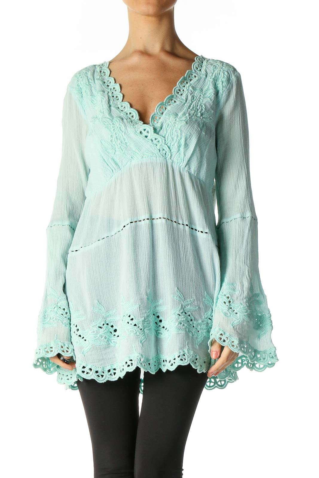 Green Lace Casual Blouse Front
