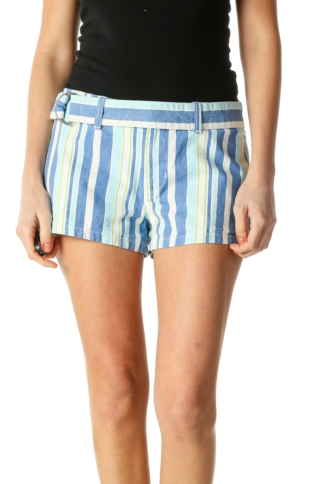 Blue Striped Casual Shorts Front