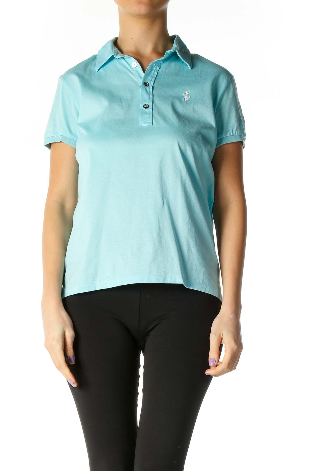 Blue Solid Casual Polo Shirt Front