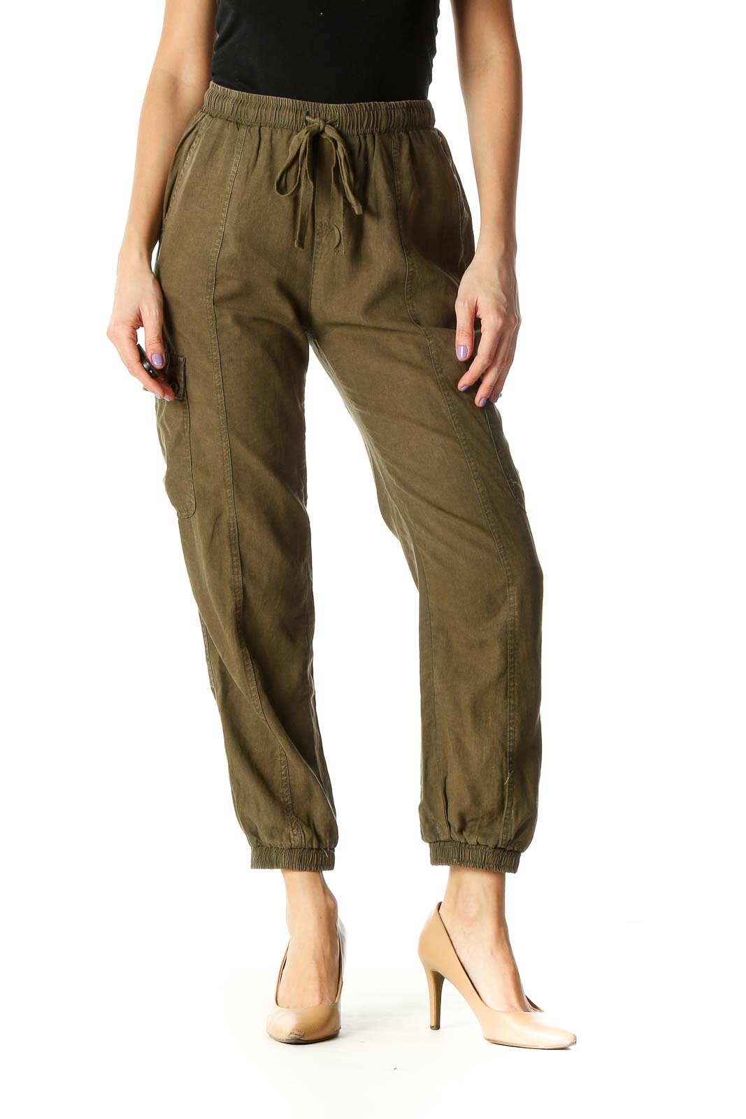Brown Solid Casual Pants Front