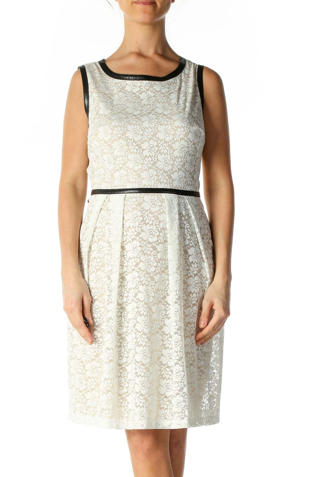 White Lace Casual A-Line Dress Front