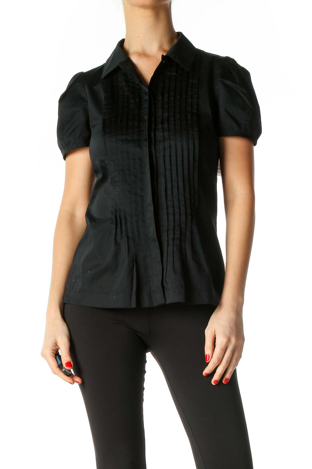 Black Solid Casual Shirt Front