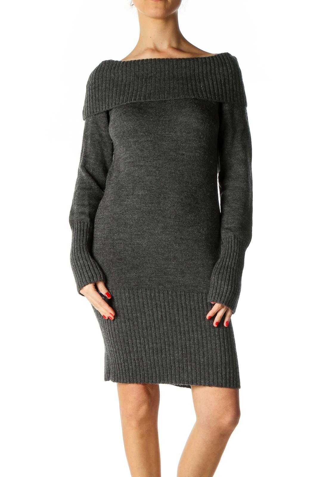Gray Textured Sheath Dress Front