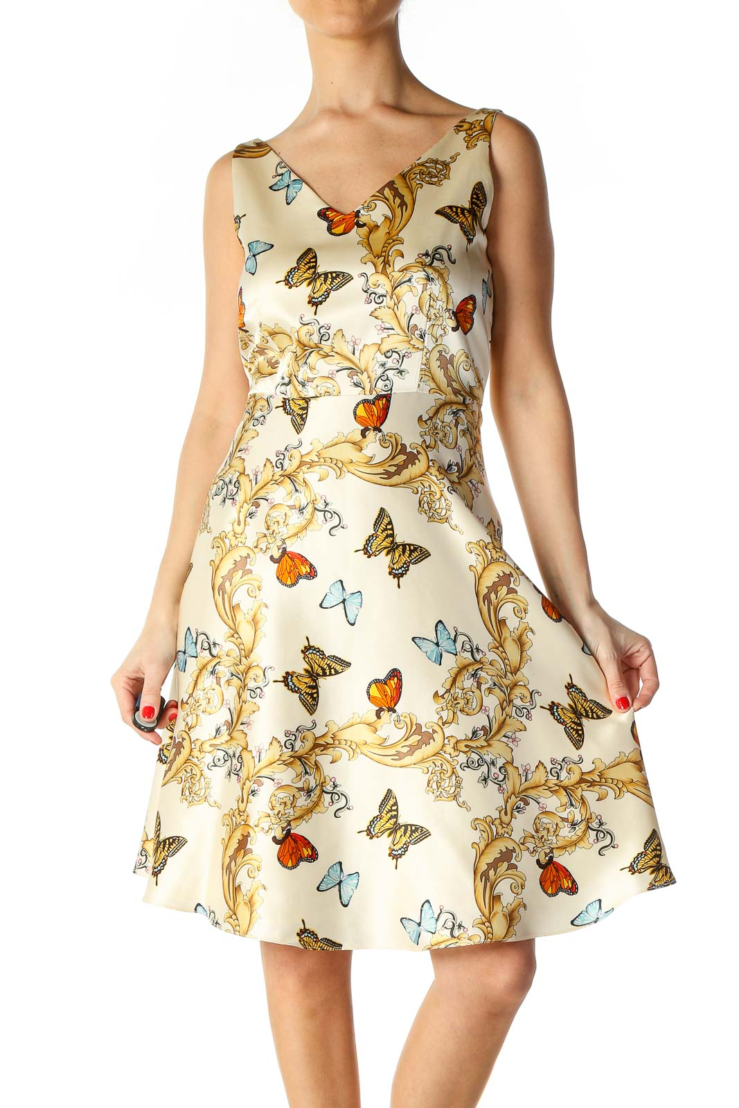 Beige Casual A-Line Dress Front