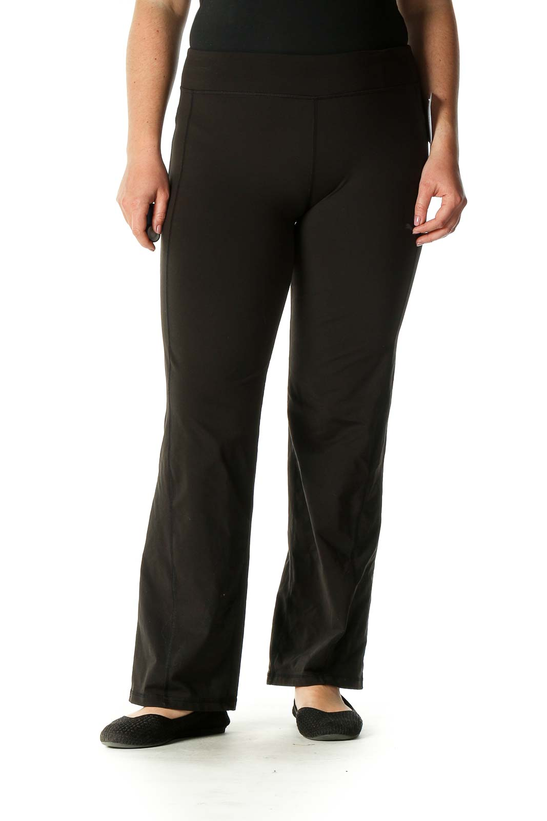 Black Solid Active Pants Front