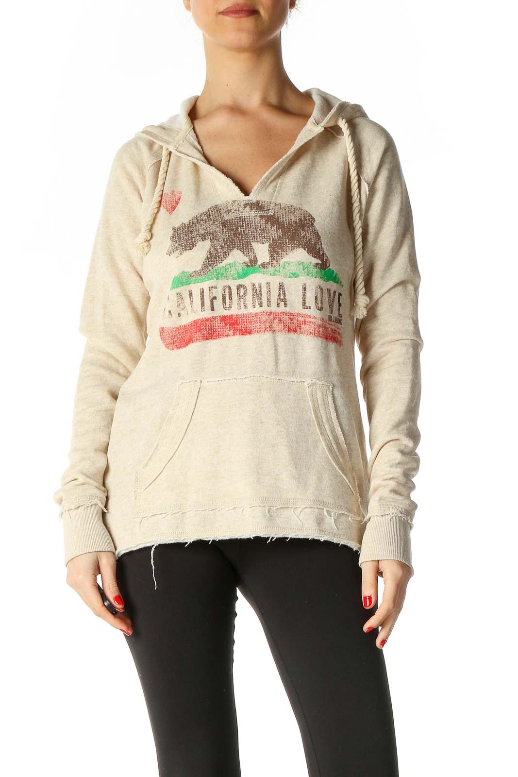 Beige Graphic Print Sweatshirt Front