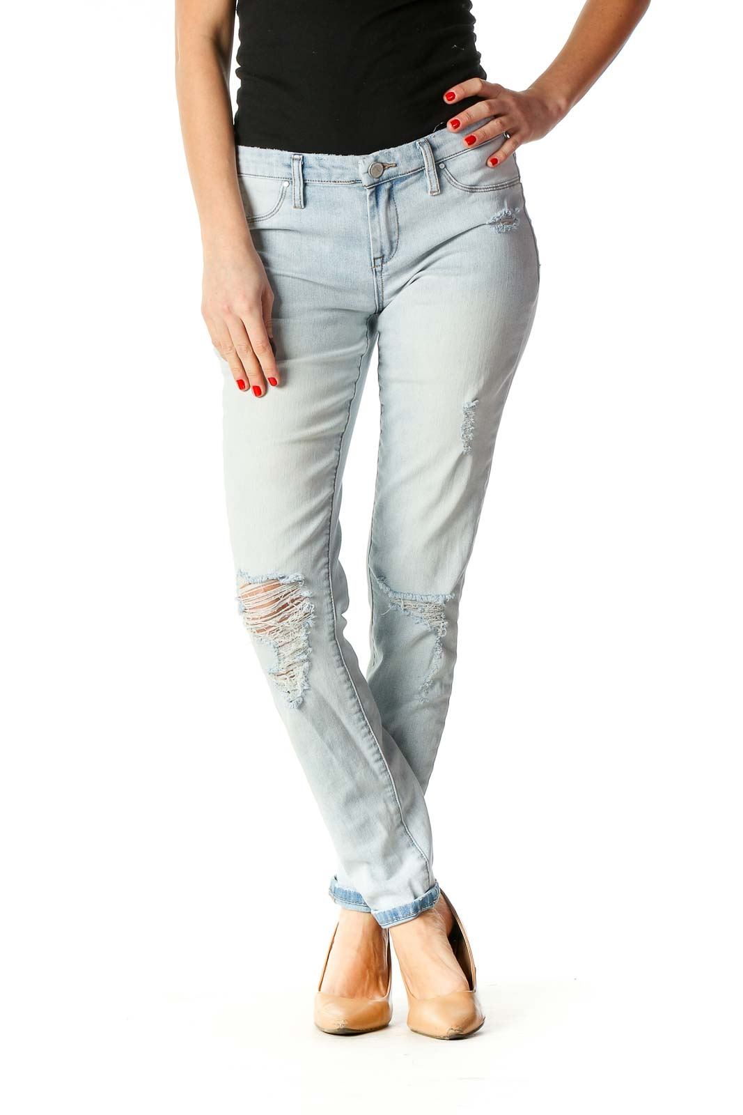 Blue Casual Skinny Jeans Front