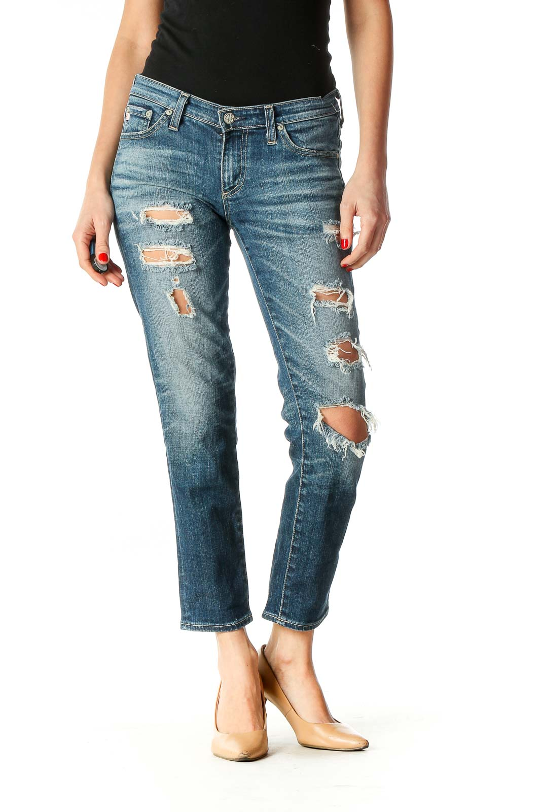 Blue Casual Straight Leg Jeans Front